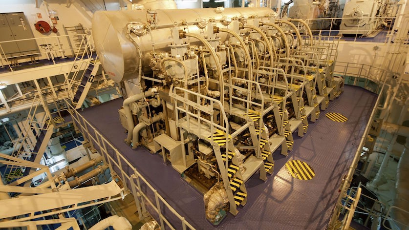 Industrial ship engine room