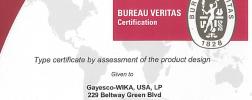 Bureau Veritas certification for the Flex-R thermocouple assembly