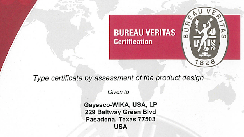 Bureau Veritas certification for the Flex-R thermocouple assembly