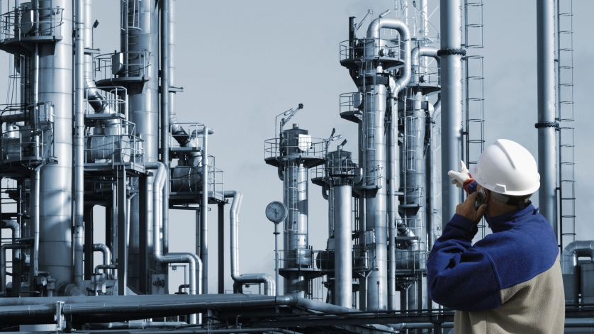 industrial worker at chemical plant