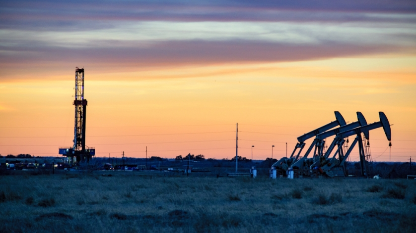 Gas Drilling Rig at Sunset