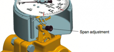 Differential pressure gauge span adjustment