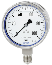 Pressure gauge for extremely low ambient temperatures