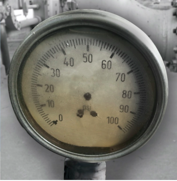 Corrosion on a pressure gauge