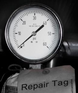 Clogged pressure gauge