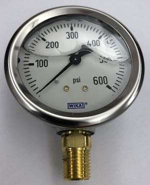 Pressure gauge with air bubble in a