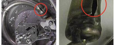 photos of actual Bourdon tubes that have split due to regular overpressure